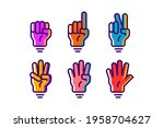 colorful hand gesture count 1 2 ... | Shutterstock .eps vector #1958704627