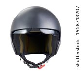 Small photo of motorcycle helmet with raised visor, front view, isolated on white background