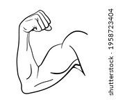 strong bicep arm muscle for... | Shutterstock .eps vector #1958723404