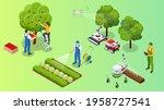 isometric apple orchard  ripe... | Shutterstock .eps vector #1958727541