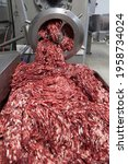 Small photo of The meat in the Grinder. the meat industry. Minced meat being extruded from an industrial mincing machine.