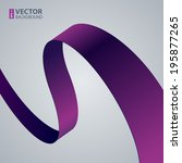 purple fabric curved ribbon on... | Shutterstock .eps vector #195877265