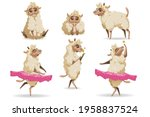 cute sheep animal cartoon set.... | Shutterstock .eps vector #1958837524
