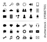 set of icons and signs on a... | Shutterstock . vector #195887501