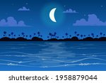 moon over tropical island... | Shutterstock .eps vector #1958879044