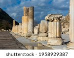 View of remaining elements of State Agora columns with Corinthian capitals in ancient Greek city of Ephesus, Izmir province, Turkey