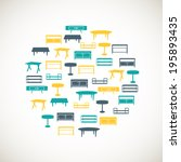 set of colorful furniture icons | Shutterstock .eps vector #195893435