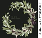 wreath of olive tree branches... | Shutterstock . vector #1958948041