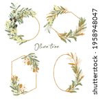 set of gold frames with green... | Shutterstock . vector #1958948047