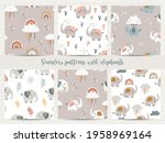 set of seamless patterns with... | Shutterstock .eps vector #1958969164