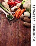 fresh vegetables on a wooden... | Shutterstock . vector #195898151