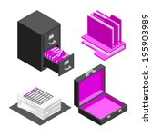 3d vector isometric office... | Shutterstock .eps vector #195903989