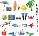 travel vector icons  | Shutterstock .eps vector #195904175