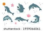 cartoon funny dolphin. playful... | Shutterstock .eps vector #1959066061