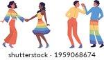 gay homosexual couple dancing...   Shutterstock .eps vector #1959068674