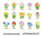set of spring garden flowers in ...   Shutterstock .eps vector #1959069037