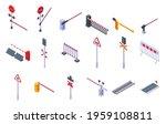 Railroad barrier icons set. Isometric set of railroad barrier vector icons for web design isolated on white background