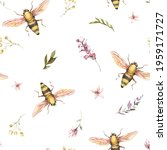 watercolor bee seamless pattern....   Shutterstock . vector #1959171727