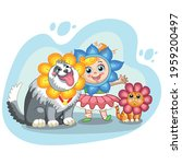 cute girl  cat and dog with... | Shutterstock .eps vector #1959200497