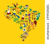 Brazil Icons, dance, soccer, fun, nature, food, Brazilian Map (vector Art)