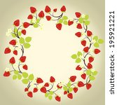 strawberry frame with leaves on ... | Shutterstock .eps vector #195921221