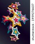 3d colorful stars on dark... | Shutterstock .eps vector #1959276637