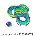 3d Render  Abstract Green Blue...