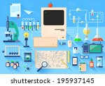 Flat design style modern vector illustration icons set of science and technology development. Laboratory workspace and workplace concept. Chemistry, physics, biology. Isolated on stylish background.