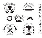 set of vintage bakery labels ... | Shutterstock .eps vector #195940169