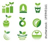 ecology green icons set | Shutterstock .eps vector #195945161