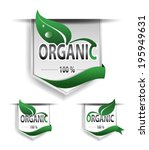 set organic labels or ribbon.... | Shutterstock .eps vector #195949631