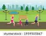 jogging vector concept. happy... | Shutterstock .eps vector #1959505867