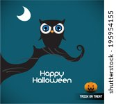 halloween illustration owl... | Shutterstock .eps vector #195954155