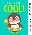 cute penguin holding ice cream... | Shutterstock .eps vector #1959556957