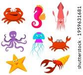 a set of cartoon sea animals.... | Shutterstock .eps vector #1959631681