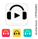 headphones with sign play icon. ...
