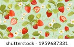 watercolor seamless strawberry... | Shutterstock .eps vector #1959687331
