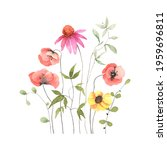 floral card with colorful... | Shutterstock . vector #1959696811