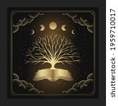 ancient books and tree with... | Shutterstock .eps vector #1959710017