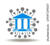 bank with circuit vector icon....   Shutterstock .eps vector #1959729547