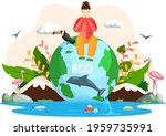 woman sitting on globe with... | Shutterstock .eps vector #1959735991