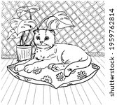 coloring book a domestic cat... | Shutterstock .eps vector #1959762814