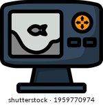 icon of echo sounder. editable...