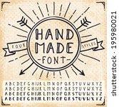 handwriting doodle alphabet.... | Shutterstock .eps vector #195980021