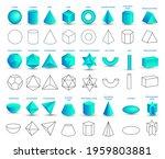 set of vector realistic 3d blue ... | Shutterstock .eps vector #1959803881