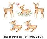 Baby Deer Woodland Watercolor...