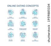 online dating concept icons set....