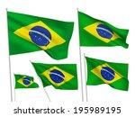 brazil vector flags set. 5 wavy ... | Shutterstock .eps vector #195989195