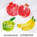 apple,art,artistic,background,banana,berry,brushstroke,closeup,color,colorful,creative,dessert,diet,drawing,food
