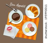 coffee and snacks set top view. ... | Shutterstock .eps vector #195993011